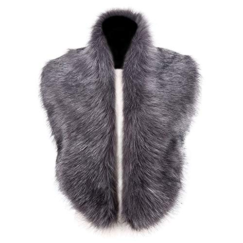 Caracilia Men Women Winter Warm Faux Fox Fur Collar Scarf Shawl Gray ()