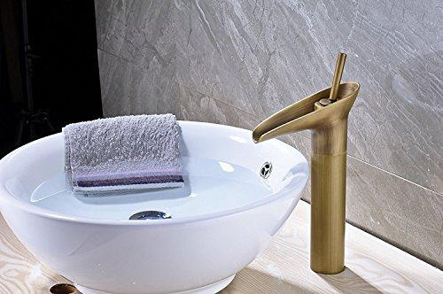 Tall Bathroom Vessel Sink Faucet Single Lever Waterfall: Senlesen Waterfall Spout Deck Mount Bathroom Vessel Sink