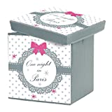 Charming and softness 1721803Paris Love Storage Box Foldable Polyester Print 38x 38x 38cm