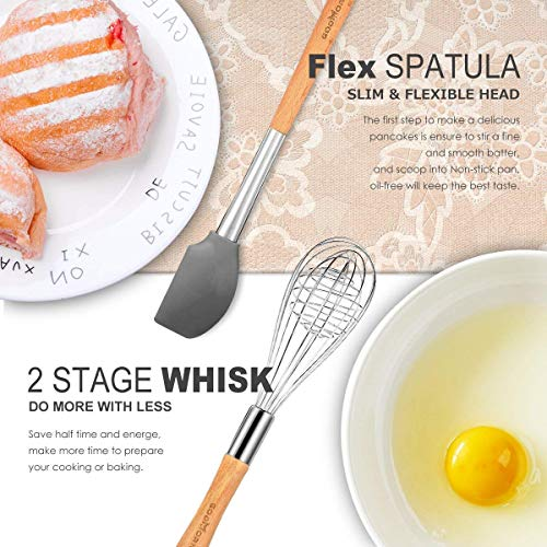 Silicone Kitchen Utensil Set - Godmorn 9 Cooking Utensils Set - Stainless Steel and Wooden Handle Silicone Utensil Set - Silicone Spatula Set Tools for Cooking