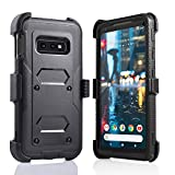 for Samsung Galaxy S10E lte Heavy Duty Belt Clip Holster Ultra Protective Tough Grip Cover with Holder and Built in Screen Protector Black