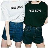 Enmeng Womens Causal Fake Love Printed T-Shirt Hip Hop Tops Best Friend Shirts (XL, Black)