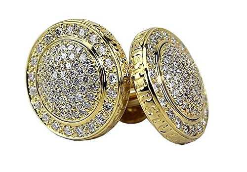 MONTBLANC ROYAL ROUND CUFFLINKS SOLID 18K YELLOW GOLD FULL DIAMONDS NEW BOX 2117