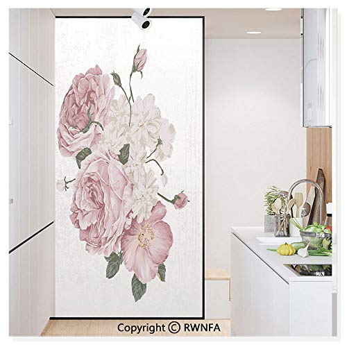 RWN Film Removable Static Decorative Privacy Window Films Old Vintage Roses Corsage on Grunge Background Antique Romantic Springtime Art for Glass (17.7In. by 78.7In),Beige Rose Green