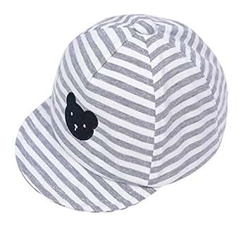 Eriso Baby Boy Embroidery Baseball Cap Newborn Stripe Cotton Hat (2T-3T, Gray) ¡