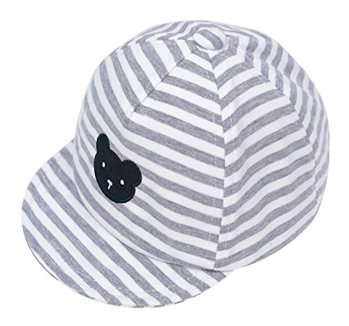 Eriso Baby Boy Embroidery Baseball Cap Newborn Stripe Cotton Hat (6-12 Months, Gray) ¡­ (Hat Stripe Cap)