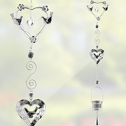 Hanging Glass Candle Holder Chimes - Birds and Heart Shape Design - Silver Filigree with a Glass Votive Candle Holder - Hanging Garden Decor - 40 Inch High (Filigree Wedding Bell)