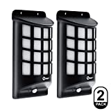 IMIGY Solar Lights, IP65 Waterproof Outdoor Wall Lights, Dark Sensor Auto On/Off Solar Powered Wall Mounted Night Light Lattice Design for Garden Pathway Door Patio Deck Yard Driveway (2 Pack)