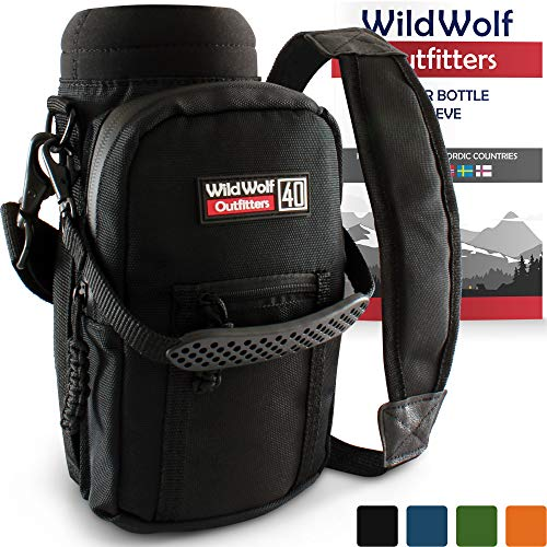 Bottle Carrier Holder - Wild Wolf Outfitters Water Bottle Holder for 40oz Bottles Black - Carry, Protect and Insulate Your Best Flask with This Military Grade Carrier w/ 2 Pockets & an Adjustable Padded Shoulder Strap
