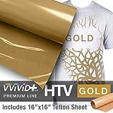 VVIVID+ Gold Premium Line Heat Transfer Vinyl Film for Cricut, Silhouette & Cameo (12'' x 1800'' (150ft) w/teflon sheet)