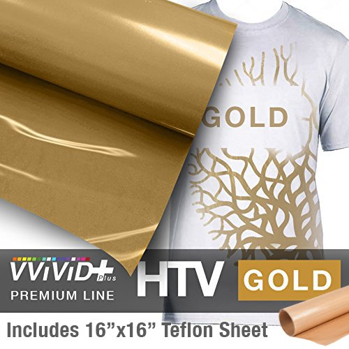 VVIVID+ Gold Premium Line Heat Transfer Vinyl Film for Cricut, Silhouette & Cameo (12'' x 1800'' (150ft) w/teflon sheet) by VViViD