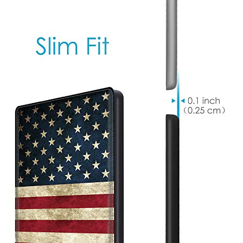 CaseBot Vegan Leather Case for Kindle Oasis (10th and 9th Gen, 2019 and 2017 Release) - Slim Fit Protective Cover, US Flag