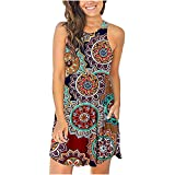 Ganfancp Casual Summer Dress for Women,Round Neck