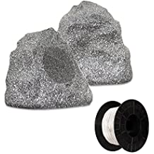 Theater Solutions 2R4G Outdoor Granite Rock 2 Speaker Set with Wire for Deck Pool Spa Patio Garden