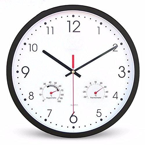 オフィスのための寝室用リビングルームのための静かな壁時計、温度計と湿度計、ピンク B07DWW1C1Q ピンク ピンク