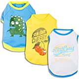 """Blueberry Pet Pack of 3 Dog Clothes 14"""" Back Length T-Shirt for Dogs with Cherry Surfer and Dinosaur Pattern, Large"""