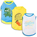Blueberry Pet Pack of 3 Clothes for Dogs, Back Length 10″, Dog T Shirt with Cherry Surfer and Dinosaur Pattern Review