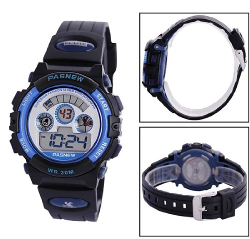 PASNEW LED Digital 30M Waterproof Outside Sports Watch For Above10 Years Olds Children Adult Teens Boys Girls N5 Blue Color 279B