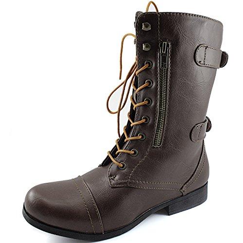Dailyshoes Womens Military Combat Bootie Lace Up Cinturino Alla Caviglia Con Cerniera Posteriore Stivali Stivali Marroni, Stringhe Tan