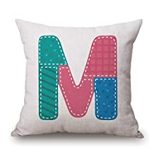 Letter Pillowcover 18 X 18 Inches / 45 By 45 Cm For Study Room Bench Couch Car Birthday Kids Boys With Two Sides
