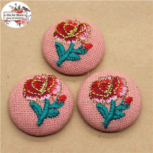 - Maslin 10pcs 23mm Embroidery Flower Flatback Fabric Covered Round Buttons Home Garden Crafts Cabochon Scrapbooking DIY Craft - (Color: 10pcs)