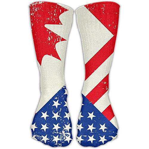 Womens Knee High Long Socks Flag Day Merica Independence Day Canada Sport Wrist Socks - Bikinis Sport Canada