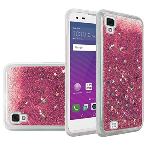 for LG Tribute HD/LG X Style Case Transparent Quicksand Glitter Case Cove (Pink)