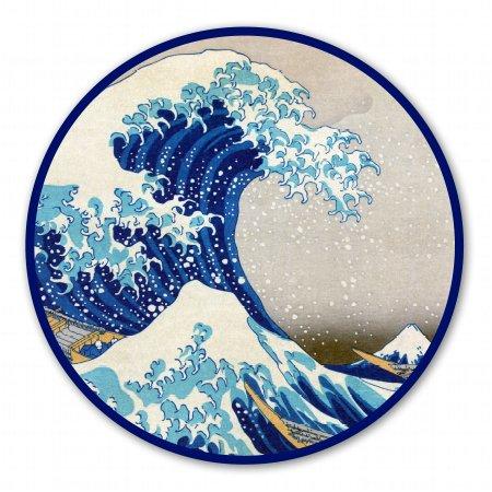 Snowboard Sticker Decal - Great Wave Off Kanagawa Circle Vinyl Sticker - Car Phone Helmet - SELECT SIZE