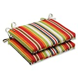 Cheap Pillow Perfect Outdoor Roxen Stripe Citrus Squared Corners Seat Cushion, Set of 2