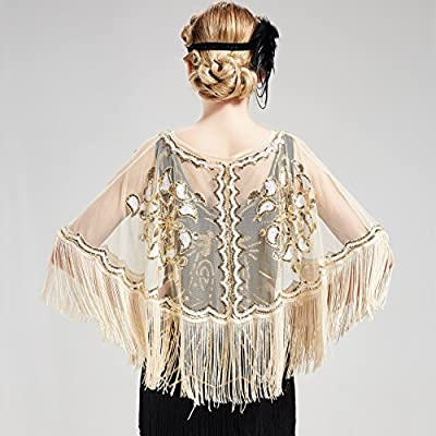 BABEYOND 1920s Shawl Wraps Gatsby Beaded Evening Cape Bridal Shawl for Evening Dresses Wedding Party