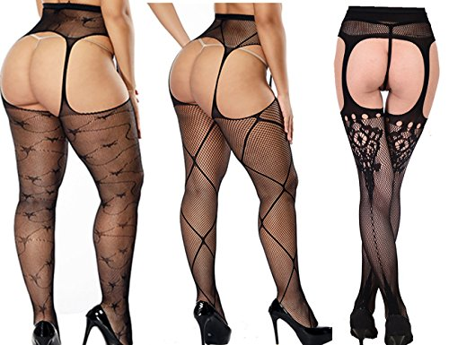 2 Pack Womens Sheer Suspender High-Heel Panty-Hose and Tights With Black/Red Line Back-seam For Women Sexy Hosiery (Fishnet Black, (Sexy Back Seam Fishnet)