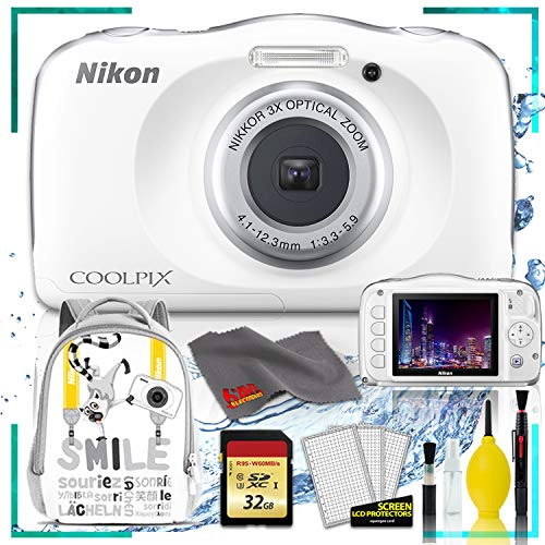 Nikon Camera Backpacks - Nikon Coolpix W150 Digital Camera - White (International Model) with Camera Cleaning Kit Bundle + 32gb SD Card + Nikon Camera Backpack (White)