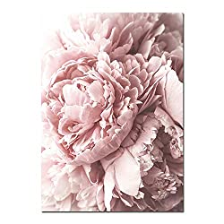 Art Flower Canvas Poster Pink Peony Floral Print Painting Nordic Style Wall Picture Modern Living Room Decoration,A4 21X30Cm Unframed,Picture 1