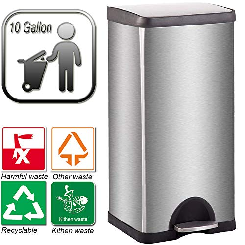 10 Gallon Trash Can with Lid for Office Kitchen Stainless Steel Metal Trash Can, Room Large Recycling Trash Can, Step Trash Can Wastebasket, Garbage Container Bin, Removable Liner Bucket, Brushed Body (10 Stainless Trash Can Gallon)