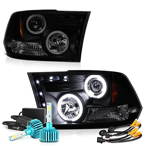 Vipmotoz Ccfl Halo Ring Black Smoke Projector Headlight Lamp Assembly For 2009 2018 Dodge Ram 1500 2500 3500 Built In Rainbow Rgb Ccfl Low Beam Driver Passenger Side