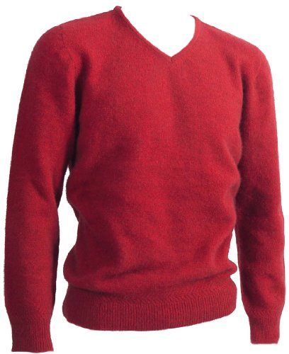 New Zealand Wool/Brushtail Possum Blend Rack Stitch V-Neck Jersey Men's Medium Red by McDonald Textiles