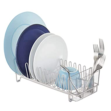 mDesign Compact Modern Kitchen Countertop, Sink Dish Drying Rack, Removable Cutlery Tray - Drain and Dry Wine Glasses, Bowls and Dishes - Metal Wire Drainer in Light Gray with Clear Caddy