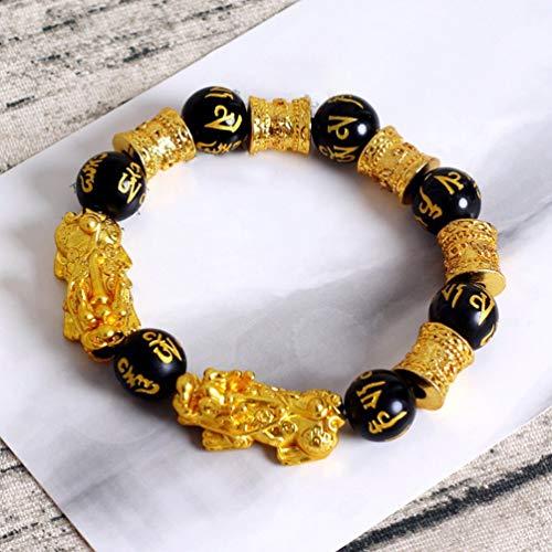 Chelsea Fashion Natural Stone Black Obsidian Pixiu Bracelet Pixiu Lucky Troops Jewelry Double pixiu Gold & Black