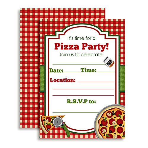 Pizza Time Invites (Pizza Party Birthday Invitations, Ten 5