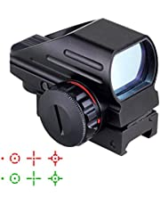 IRON JIA'S Airsoft táctico Multi-óptico Recubierto holográfico Punto Rojo y Verde Vista Reflex 4 Diferentes retículas