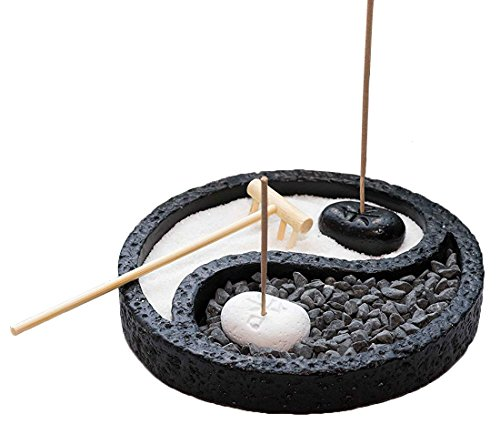 Juvale Zen Garden - Yin Yang Asian Zen Garden Kit for Relaxation and Meditation, Includes White and Black Incense Holders, Rocks, Sand, and Rake, Tray is 6 Inches in Diameter
