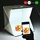 16 Inch Portable Photo Studio Shooting Tent, LEPOTEC Small Foldable LED Light Box Softbox Kit with 4 Colors Backdrops(White Black Red Green) for Photography, Built-in 2pcs 6000K White LED Strips Reviews