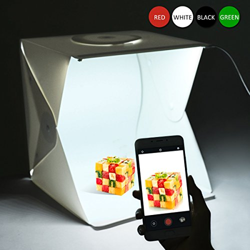 Portable Photo Studio Shooting Tent, LEPOTEC 16 Inch Small Foldable LED Light Box Softbox Kit with 4 Colors Backdrops(White Black Red Green) for Photography, Built-in 2pcs 6000K White LED Strips