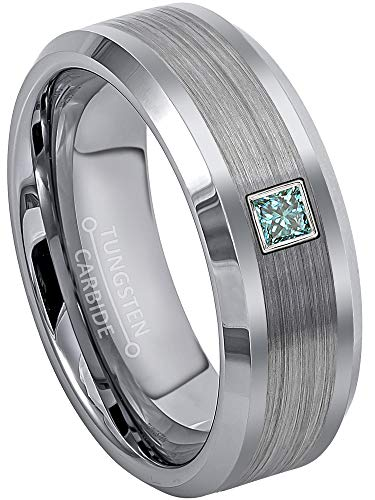 0.10ctw Solitaire Princess Cut Blue Diamond Tungsten Ring - 8MM Brushed Center Beveled Edge Tungsten Carbide Wedding Band - April Birthstone Ring - s7.5