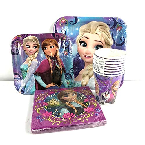 Disney Frozen Elsa & Anna Value Pack Birthday Party for 8 guests ( Plates, Cups, Napkins)]()