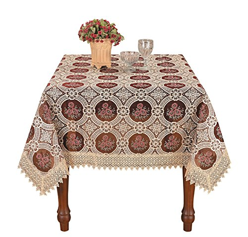 Embroidered Square Tablecloth - Simhomsen Vintage Burgundy Lace Tablecloth Embroidered Square 56 Inch