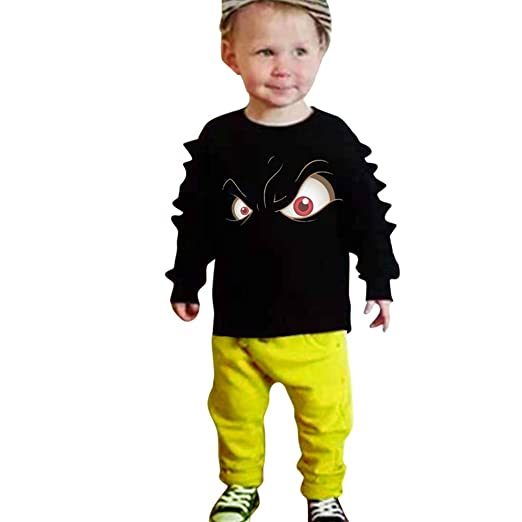 baaf4ba51a15 Amazon.com  2Pcs Toddler Kids Baby Boys Outfit Set Cartoon 3D Dinosaur  Pullover Tops +Sweatsuit Pants  Clothing