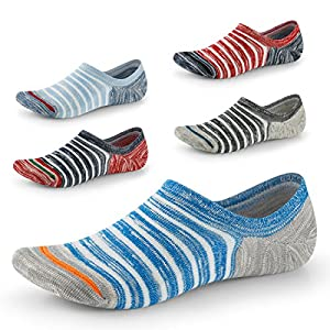 No Show Socks for Men-Low Cut with Non Slip Grip-Invisible Socks for Oxfords Sneakers US Size7-11 5 Pairs SEESILY