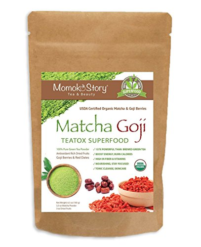 Momoko Story Matcha Goji & Superfood Fruits 100% Premium Green Tea Powder, Goji Berries and Red Dates for Hot Beverages, Smoothies and Baking