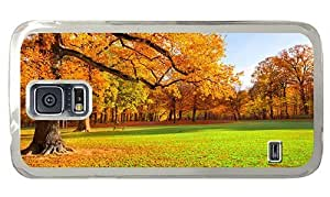 Hipster Samsung Galaxy S5 Case Cheap price park autumn scenery PC Transparent for Samsung S5